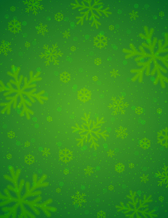 Green  background with  blurred snowflakes, vector illustration