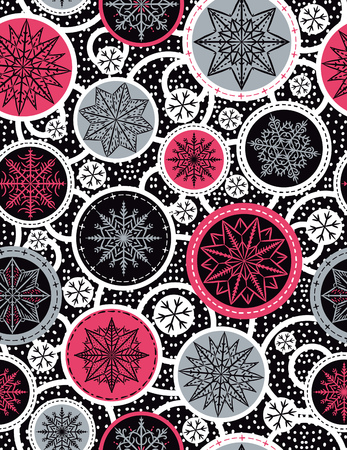 gray background: Color seamless pattern background with snowflakes and stars,  vector illustration