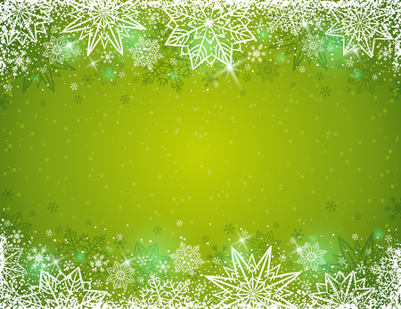 Green background with  frame of snowflakes and stars,  vector illustration Illustration