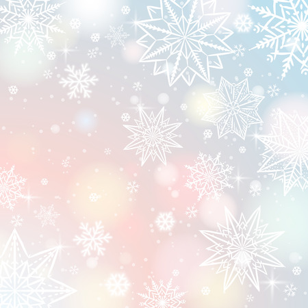 Light color background with snowflakes and stars, vector illustration