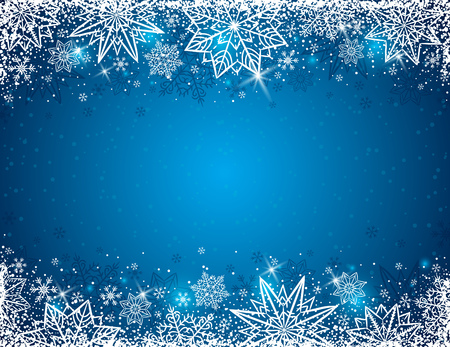Blue background with  frame of snowflakes and stars,  vector illustration Illustration