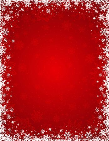 Red background with  frame of snowflakes and stars,  vector illustration Ilustração