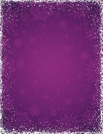 Fioletowe tło z ramką płatki śniegu i gwiazdy, ilustracji wektorowych