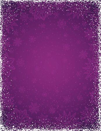 Fondo púrpura con marco de copos de nieve y estrellas, ilustración vectorial