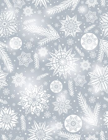 alder: Grey Christmas seamless pattern background with snowflakes and stars,  vector illustration