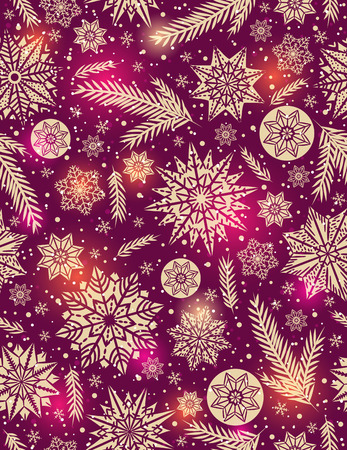 alder: Red Christmas seamless pattern background with snowflakes and stars,  vector illustration Illustration