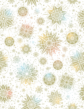 winter background: Christmas seamless pattern background with golden snowflakes and stars,  vector illustration Illustration