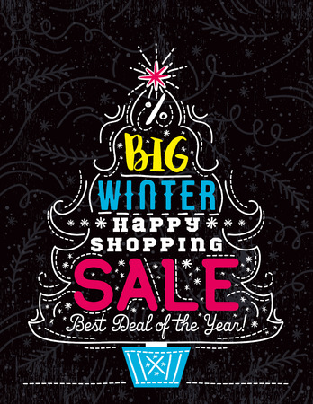 Christmas poster with tree, snowflakes and sale offer, vector illustration