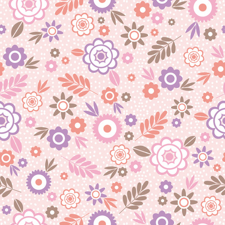 scrap booking: Seamless Pattern with flowers and leafs. Ideal for printing onto fabric and paper or scrap booking