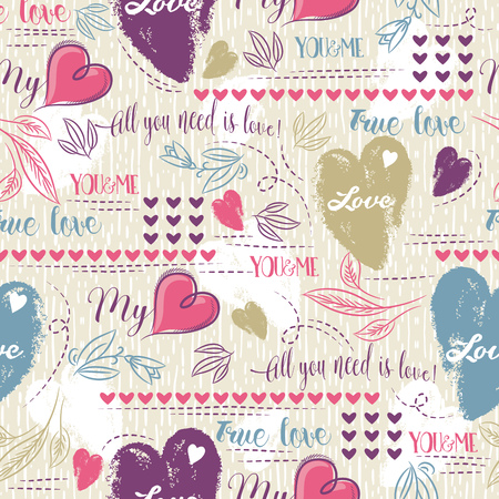 scrap booking: Color background with  red  and blue valentine heart and wishes text,  vector illustration. Ideal for printing onto fabric and paper or scrap booking