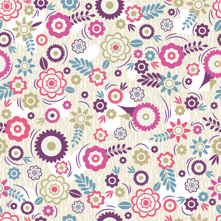 scrap booking: Seamless Pattern with flowers and leafs. Ideal for printing onto fabric and paper or scrap booking, vector