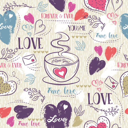 scrap booking: Beige seamless patterned background with cup of coffee, red and blue valentine heart and wishes text,  vector illustration. Ideal for printing onto fabric and paper or scrap booking.