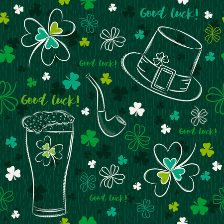 Green seamless background for Patricks day with ber mug, hat, pipe and shamrocks, vector illustration