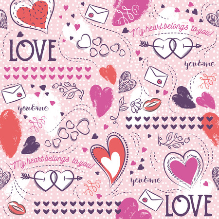 scrap booking: Pink seamless patterned background with, red and blue valentine heart and wishes text,  vector illustration. Ideal for printing onto fabric and paper or scrap booking.