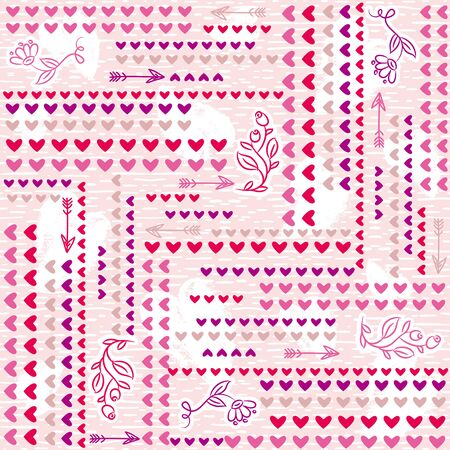 Pink  background with  valentine heart,  vector illustration. Ideal for printing onto fabric and paper or scrap booking Illustration