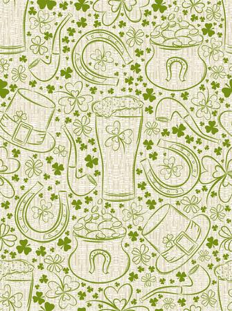 Beige background for Patricks day with ber mug, horseshoe, hat, pipe and shamrocks, vector illustration Vektoros illusztráció