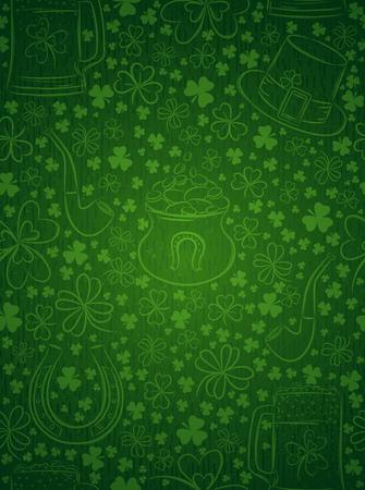 Green background for Patricks day with ber mug, hat, horseshoe, pipe and shamrocks, vector illustration
