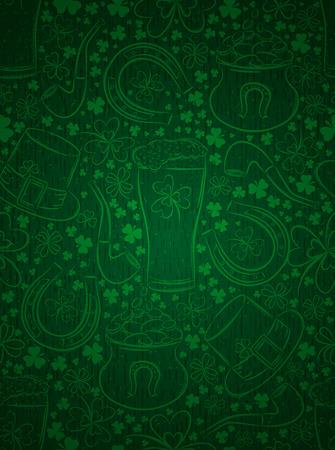 Green background for Patricks day with ber mug, horseshoe, hat, pipe and shamrocks, vector illustration