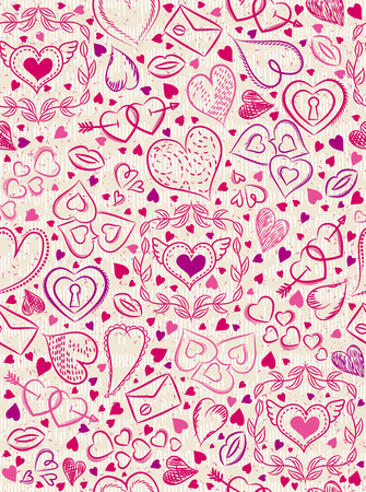 scrap booking: Color patterned background with red valentine hearts, vector illustration. Ideal for printing onto fabric and paper or scrap booking.