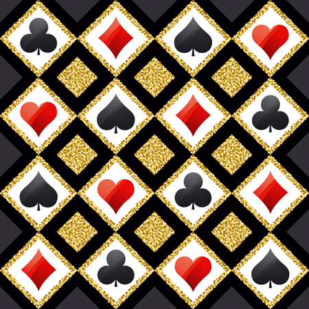 Seamless casino gambling poker background with red, black and golden symbols, vector illustration. Ideal for printing onto fabric and paper or scrap booking