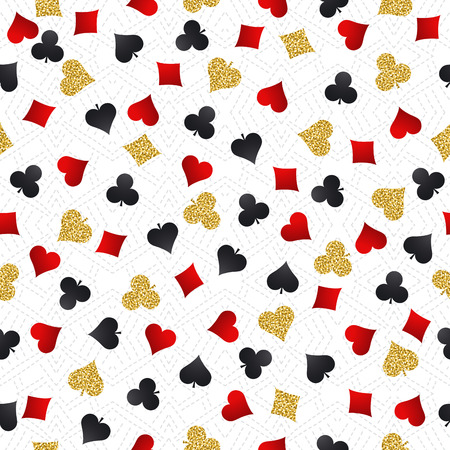 golden symbols: Seamless casino gambling poker background with red, black and golden symbols, vector illustration. Ideal for printing onto fabric and paper or scrap booking