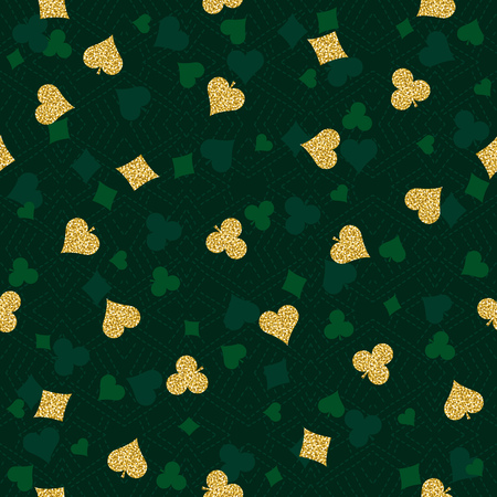 Seamless casino gambling poker background with  golden symbols, vector illustration. Ideal for printing onto fabric and paper or scrap booking
