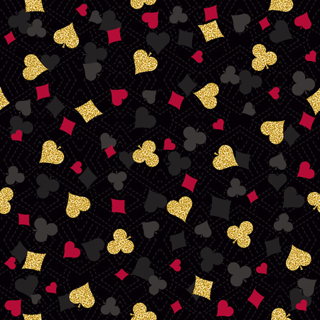poker card: Seamless casino gambling poker background with red, black and golden symbols, vector illustration. Ideal for printing onto fabric and paper or scrap booking