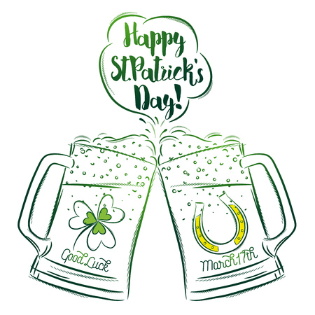 northern ireland: Design  for  St Patricks Day with two beer mugs with labels of shamrock and horseshoe, vector illustration