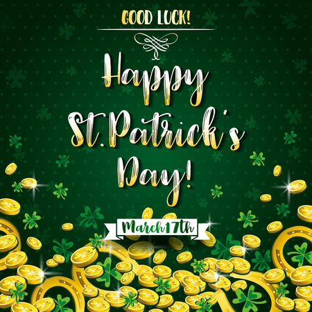 Green background for St Patricks Day with shamrocks, horseshoe and golden coins, vector illustration.