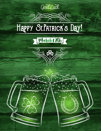 green card: Green card for St. Patricks Day with two beer mug, horseshoe and shamrock, vector illustration.