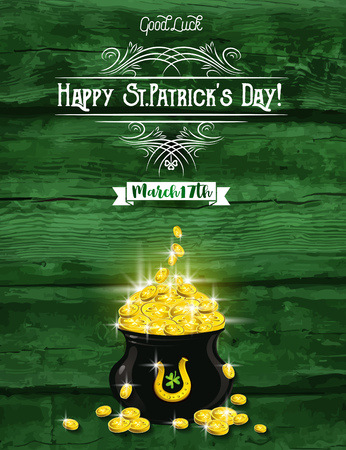 17th march: Green card for St. Patricks Day with  pot and golden coins, horseshoe, shamrock, vector illustration