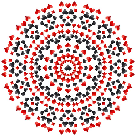 Gambling poker round mandala with red and black symbols, vector illustration. Ideal for printing onto fabric and paper or scrap booking.