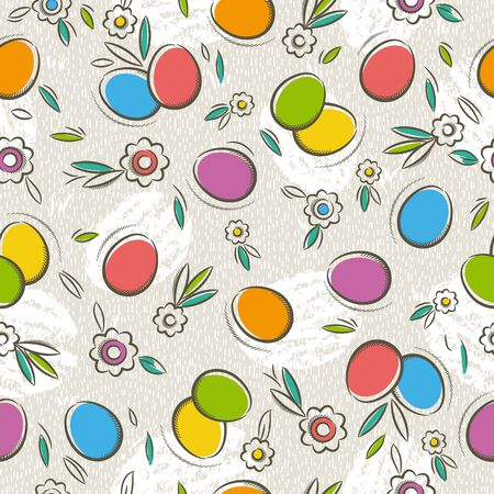 patrones de flores: Seamless Patterns with  color easter eggs and flower. Ideal for printing onto fabric and paper or scrap booking, vector illustration