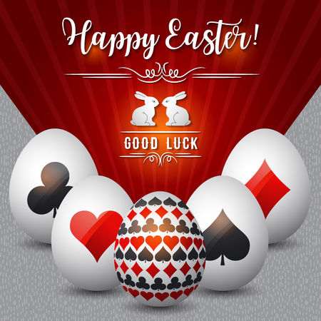 card game: Easter greetings card with red and black symbols over white eggs, vector illustration. Decorative composition suitable for invitations, greeting cards, flyers, banners. Illustration