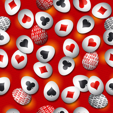 Seamless  gambling  background with red and black symbols over easter eggs, vector  illustration. Ideal for printing onto fabric and paper or scrap booking. Illustration
