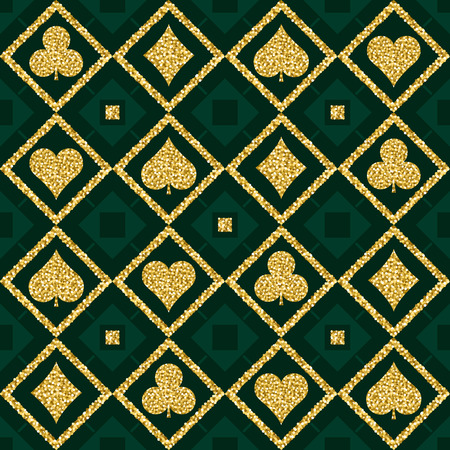 golden symbols: Seamless casino gambling poker background with golden symbols, vector illustration. Ideal for printing onto fabric and paper or scrap booking