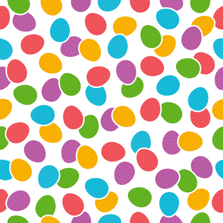 Seamless  pattern with color easter eggs over white background. Ideal for printing onto fabric and paper or scrap booking, vector illustration