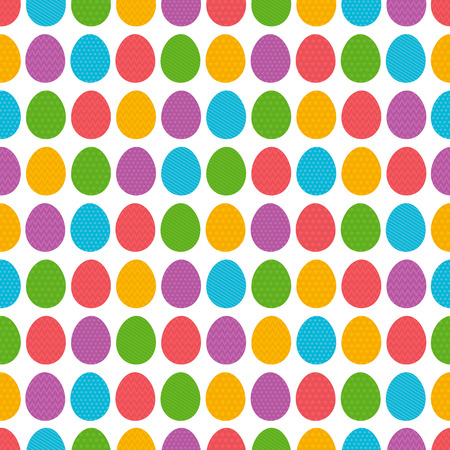 Seamless  pattern with color easter eggs over white background.Ideal for printing onto fabric and paper or scrap booking, vector illustration Illustration