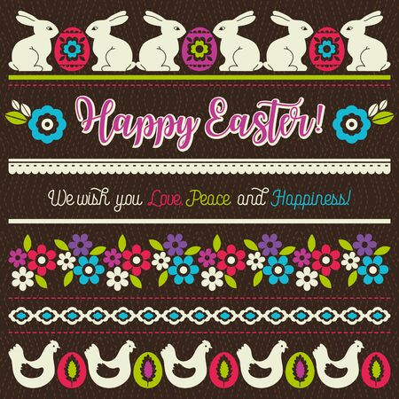 easter greetings cards with color easter eggs hen flowers and