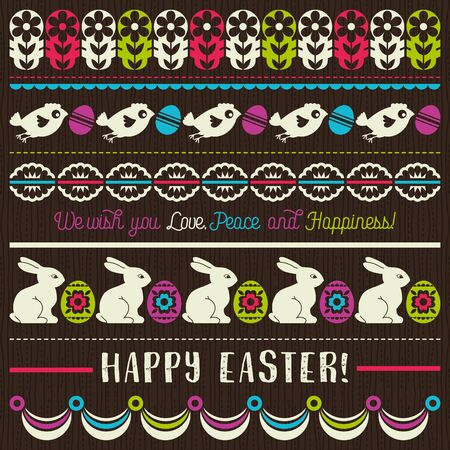 brown egg: Easter greetings cards with color easter eggs, flowers and rabbits. Ideal for printing onto fabric and paper or scrap booking, vector illustration