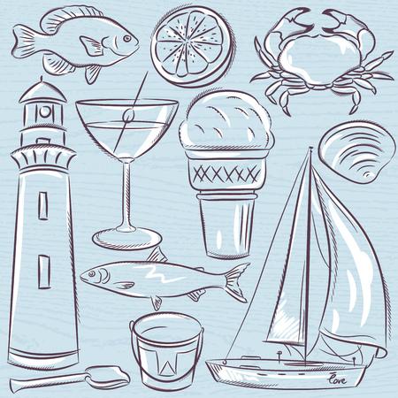 Set of  summer symbols, shells, crab, boat, cocktail, lighthouse, ice cream, bucket, fish, fruit on a blue  grunge background Illustration