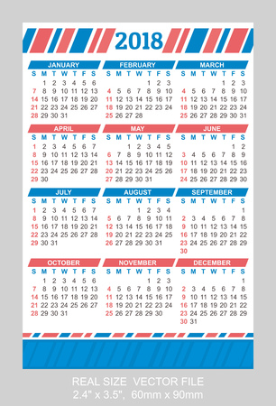 weekly: Pocket Calendar 2018, vector, start on Sunday SIZE: 2.4 x 3.5, 60mm x 90mm