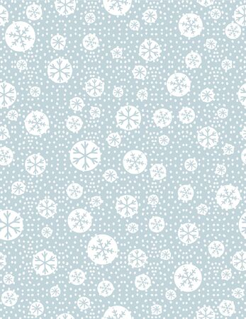 Christmas seamless pattern with snowflakeson blue background,  vector illustration