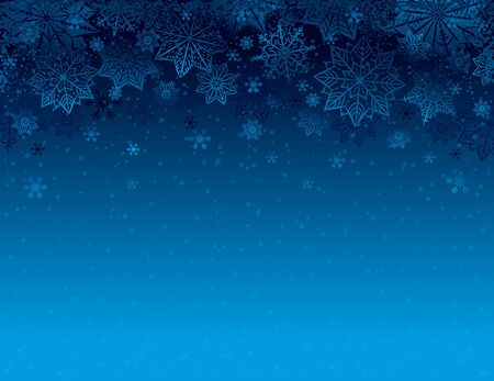 Blue Christmas background with snowflakes and stars, vector illustration. Ilustrace