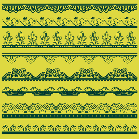 Set of Lace Paper with floral and decorative elements over  green background, vector