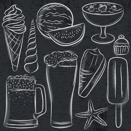 Set of  summer symbols, shells, beer, ice cream, watermelon on blackboard background, vector illustration. 일러스트