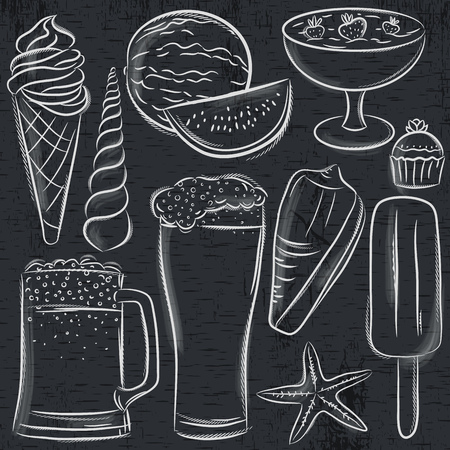 Set of  summer symbols, shells, beer, ice cream, watermelon on blackboard background, vector illustration. Ilustração