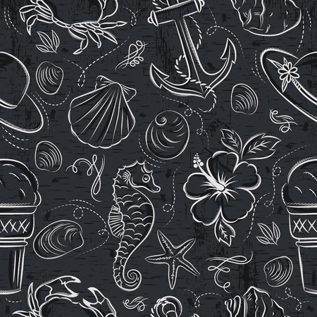 Seamless Patterns with  summer symbols,shels, crab, hat, anchor,  sea horse, ice cream,  flower on grunge  blackboard, vector illustration.Ideal for printing onto fabric and paper or scrap booking.