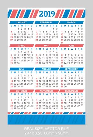 Pocket calendar 2019