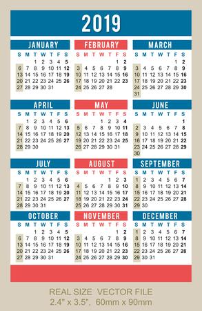 "Pocket calendar 2019, start on SundaySIZE: 2.4"" x 3.5"", 60mm x 90mm Vector Illustration"